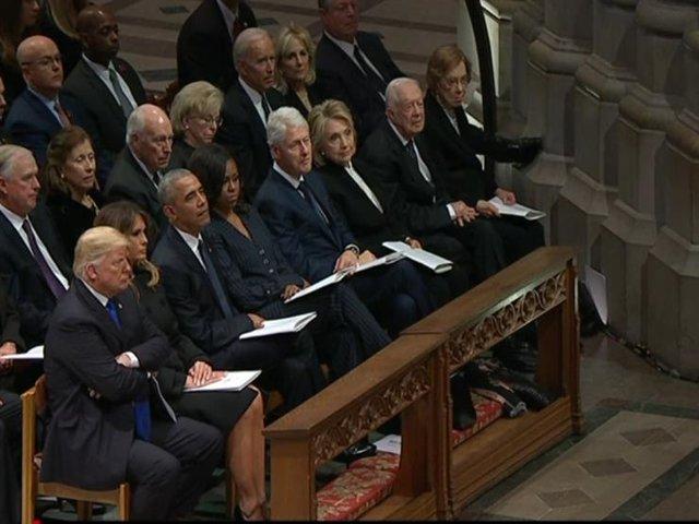 کنار هم نشستن ترامپ، اوباما، کلینتون و کارت
