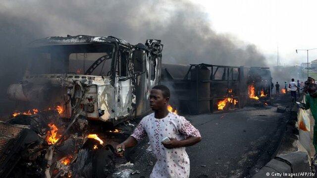 انفجار تانکر سوخت بنزین کامیون نشت نیجریه آفریقا