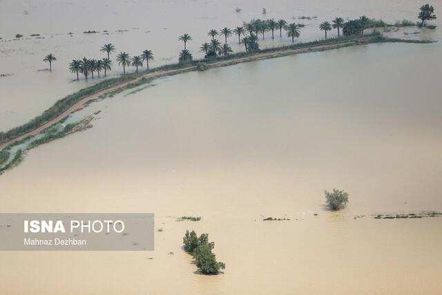 تصاویر هوایی از مناطق سیل زده در اهواز و سوسنگرد