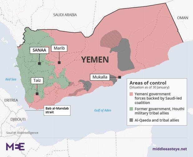نقشه یمن و عربستان