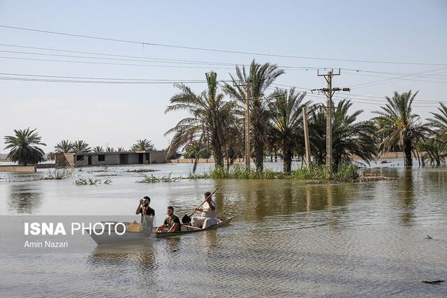 پیشروی آب رودخانه ها به روستای شیخ زهرآب از توابع شهرستان حمیدیه