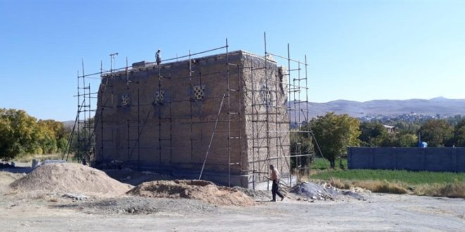 عملیات مرمت برج کبوترخانه خسروی
