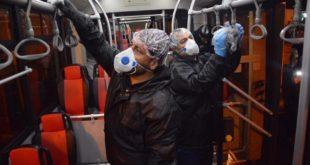 عملیات ضدعفونی پایانهها و اتوبوسهای شهری