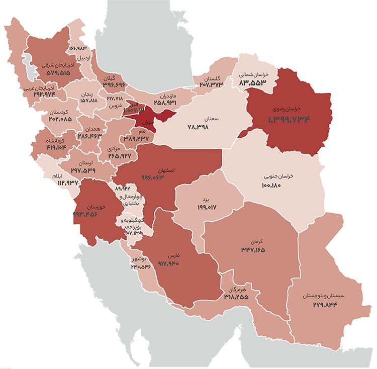 توزیع کاربران دیوار در کشور